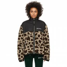 Palm Angels Black Sherpa Animalier Jacket PMEA111R207250018801