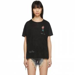 R13 Black Flaming Rose Boy T-Shirt R13W3966-01