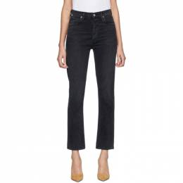Citizens Of Humanity Black Charlotte High-Rise Straight Jeans 1731-1146