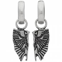 Marcelo Burlon County Of Milan Silver Wings Pendant Earrings CMOD003R20MET0017200