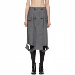 Maison Margiela Grey Houndstooth Double-Breasted Skirt S51MA0410 S52580