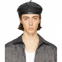 Our Legacy Black Leather Beret A1208BB