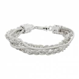 Emanuele Bicocchi White Double Chain and Braided Bracelet FKB04W