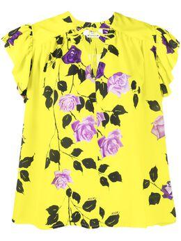 MSGM футболка с цветочным принтом и оборками 2841MDM30207162