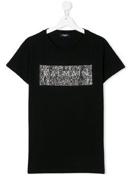 Balmain Kids футболка с декорированным логотипом 6M8001MA030
