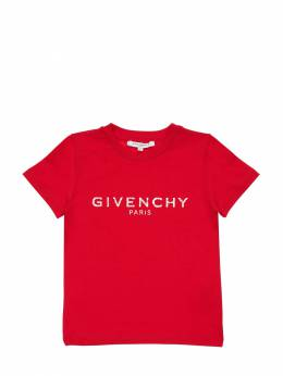 Футболка Из Хлопкового Джерси С Принтом Логотипа Givenchy 71IOFL019-OTkx0