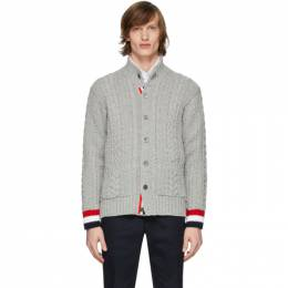 Thom Browne Grey Aran Mock Neck Cardigan MKJ044A-00014