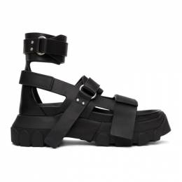 Rick Owens Black Ankle Strap Tractor Sandals RU20S7819 LBO