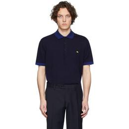 Etro Navy Knit Logo Polo 1m509 9180
