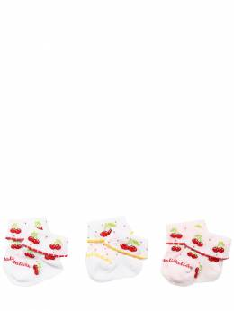 Set Of 3 Cherry Cotton Knit Socks Monnalisa 71ILX3014-OTk0NA2