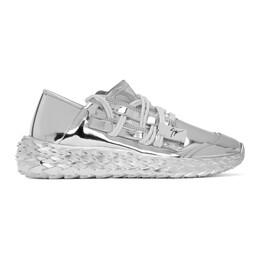 Giuseppe Zanotti Design Silver Leather Urchin Sneakers RM00032-84423