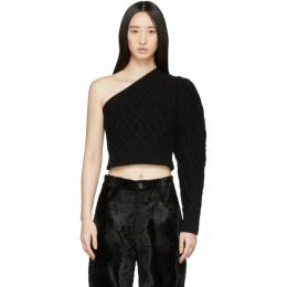 Wandering Black Single Shoulder Cropped Sweater WGS20904