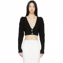 Wandering Black Cable Knit Cropped Cardigan WGS20901