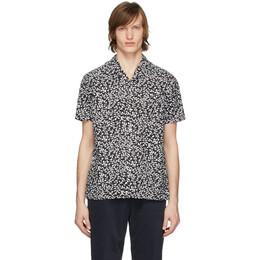 Officine Generale Black and White Seersucker Dario Short Sleeve Shirt S20MSHI013PRE