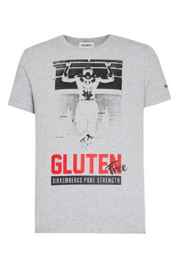 Серая футболка с принтом Bikkembergs 1487183024