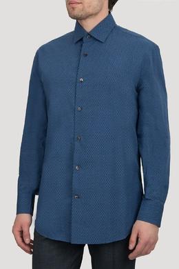 Синяя рубашка с мелким узором Salvatore Ferragamo 510182654