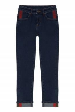Синие джинсы с красными полосками Bikkembergs 1487183082