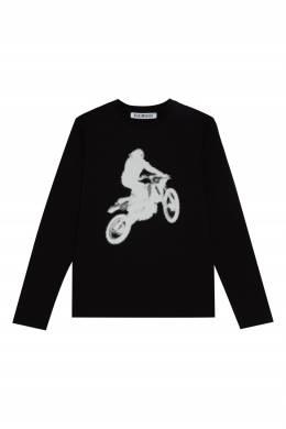 Черный лонгслив с мотоциклистом Bikkembergs 1487183093
