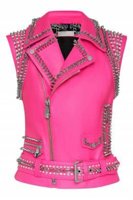Розовый кожаный жилет с шипами Philipp Plein 1795183004
