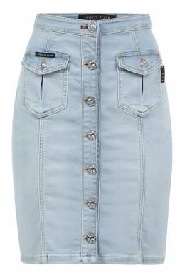 Голубая джинсовая юбка Philipp Plein 1795183046