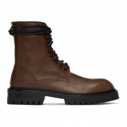 Ann Demeulemeester Brown Lace-Up Boots 2013-4204-358-049