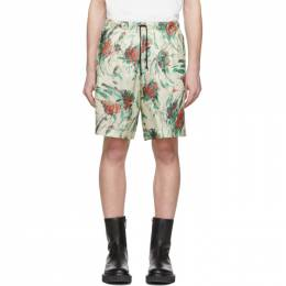 Dries Van Noten Off-White and Multicolor Floral Drawstring Shorts 20950-9079-006