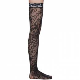 Versace Underwear Black Logo Band Lace Stockings AUD10028 AN00254