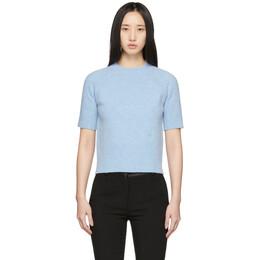 Victoria Beckham Blue Raglan Short Sleeve Sweater 1120KJU000598A