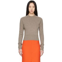 Victoria Beckham Brown Cashmere Cropped Sweater 1120KJU000554A