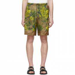Dries Van Noten Beige and Yellow Floral Drawstring Shorts 20950-9078-102