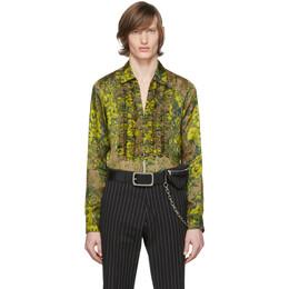 Dries Van Noten Green and Yellow Floral Ruffle Shirt 20706-9100-102