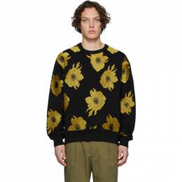 Dries Van Noten Black and Yellow Embroidered Floral Sweatshirt 21143-9615-900