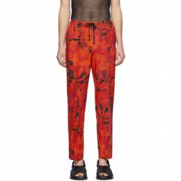 Dries Van Noten Red and Black Floral Drawstring Trousers 20926-9075-352