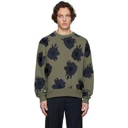 Dries Van Noten Khaki and Navy Embroidered Floral Sweatshirt 21143-9615-606