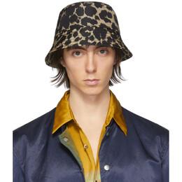 Dries Van Noten Black and Beige Leopard Bucket Hat 29501-9087-977
