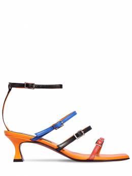 50mm Naomi Leather Sandals Manu Atelier 71IMUQ001-T1JBTkdFL0JMQUNLL0JM0