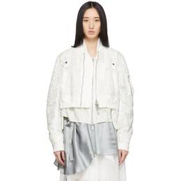 Sacai White Embroidered Lace Bomber Jacket 20-04934
