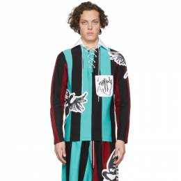 Charles Jeffrey Loverboy Blue and Black Magpie Stripe Rugby Polo CJLSS20MSR