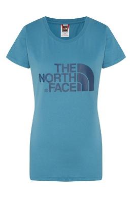 Удлиненная синяя футболка с логотипом The North Face 2717116405