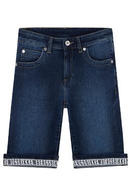 Синие джинсовые шорты Bikkembergs 1487183499