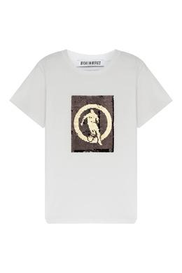 Белая футболка с золотистым узором Bikkembergs 1487183496