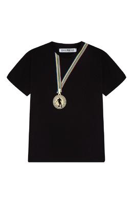 Черная футболка с принтом в виде медали Bikkembergs 1487183494