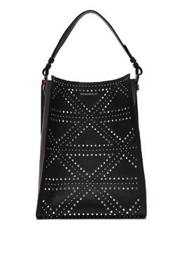 Черная сумка с заклепками Emporio Armani 2706184024