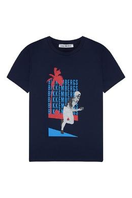 Синяя футболка с рисунком Bikkembergs 1487183442