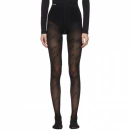 Balenciaga Black Logo All Over Flock Tights 580914-398B6