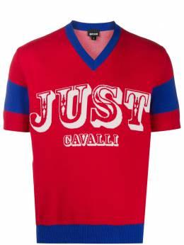 Just Cavalli футболка с V-образным вырезом и логотипом S01HA0434N14889