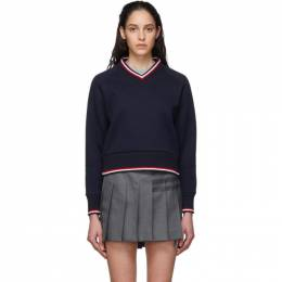Thom Browne Navy University V-Neck Sweater FJT106A-06449