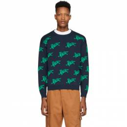 Kenzo Navy and Green Jumping Tiger Sweatshirt FA55PU5033LA