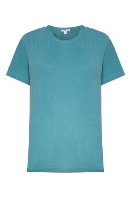 Бирюзовая футболка с круглым вырезом James Perse 280183491