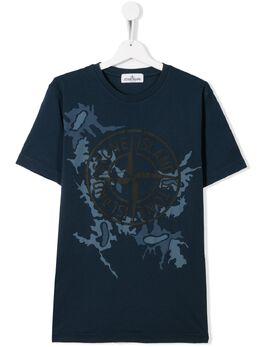 Stone Island Junior футболка с камуфляжным принтом и логотипом MO721621056
